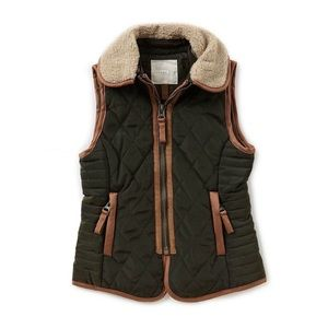Copper Key Green Faux-fur Quilted Vest Girls 7/8
